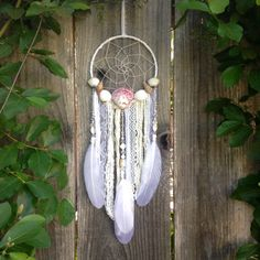 Shell Dream Catcher White Dreamcatcher Beach Decor Nursery Decor Baby Shower Gift (55.00 USD) by InspiredSoulShop