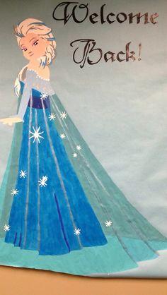 I like my own Frozen bulletin board.but this Elsa is pretty great. Frozen Classroom, Disney Classroom, Classroom Crafts, Future Classroom, Classroom Ideas, Frozen Bulletin Board, Winter Bulletin Boards, Library Bulletin Boards, Frozen Christmas
