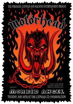 Motörhead,Morbid Angel at the Catwalk,Washington Heavy Metal Movie, Heavy Metal Art, Rock Vintage, Vintage Music, Rock Posters, Band Posters, Music Posters, Hardcore Music, Vintage Concert Posters