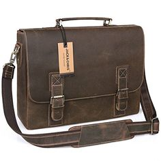 JackChrisClassical Mens Leather Briefcase Laptop Bag Messenger Shoulder bag N8069 * Continue to the product at the image link.