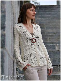 crochet top pattern her Col Crochet, Gilet Crochet, Crochet Coat, Crochet Jacket, Crochet Cardigan, Irish Crochet, Crochet Clothes, Lace Top Outfits, Mode Vintage
