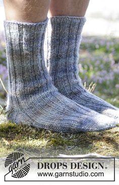 "Cool socks for men in 2 strands ""Fabel"" #knitting by DROPS Design"