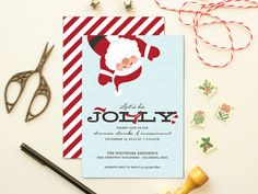 Toasty Santa Invitation  Santa Xmas And Christmas Invitations