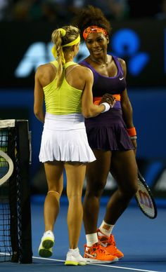 Serena Williams of the United States of America and Maria Kirilenko of Russia embrace at the net after their fourth round match during day eight of the 2013 Australian Open at Melbourne Park on January 21, 2013 in Melbourne, Australia.