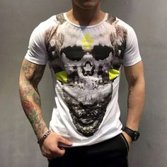 Find More T-Shirts Information about 2016 summer fashion men's cultivate  morality leisure fashion brand skulls  pure cotton short sleeve T shirt men's  big yards,High Quality t-shirt sublimation,China t-shirt germany Suppliers, Cheap t-shirt dresses for women from UNO Boutique : Brand Men's wear & fashion sunglasses on Aliexpress.com