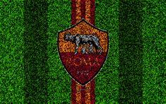 Download imagens As Roma, 4k, logo, futebol gramado, italiano de futebol do clube, vermelho amarelo linhas, emblema, grama textura, Serie A, Roma, Itália, futebol, Roma FC