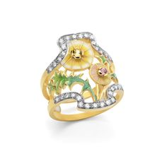 """Magic Portrait  AN-421.  18kt yellow gold ring with """"plique-à-jour"""" and """"basse taille"""" fired enamel, yellow and pink sapphires and diamonds.  #jewelry #artnouveau #enamel #barcelona"""