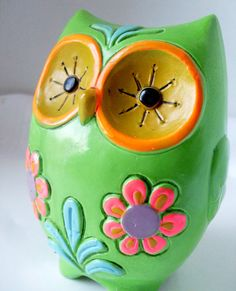 Vintage Owl Bank Mod Bright Green by TheOwlLady on Etsy,