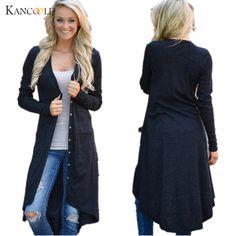 New Fashion Autumn Medium-long Women's Cardigan 2017 Sweater female Vintage elegant pocket Knitted Outerwear Cape Tops JY14