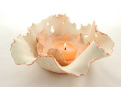 Clay Candle Holder - Ceramic Free Formed Organic Luminary Wedding Centerpiece by SueDicksonGallery on Etsy https://www.etsy.com/ca/listing/221947467/clay-candle-holder-ceramic-free-formed