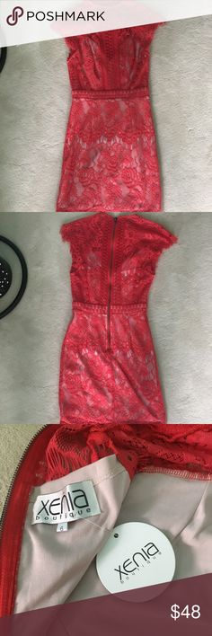 Red lace Mini Dress GORGEOUS red lace mini dress!! I can't believe I've never worn it! New with tags from an adorable Australian boutique. Fits true to size. In PERFECT condition. Xenia Boutique Dresses Midi