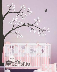"Tree Wall Decal -  Nursery Wall Decoration - Tree Wall Sticker - Corner Tree decal - Large: approx 93"" x 67"" - KC001"