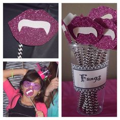 Monster High Party. Fangs. Prop.  Cut shapes out of glittery paper. Glue onto a stick or straws. I used black and white paper straws. They were sturdier than regular plastic straws. Girls used them for photo booth.