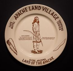 """Apache Land Village Café, Motel and Shopping Center, Globe, Arizona. Made by Wallace China in 1954 & 1955. 9 5/8"""" Plate. Offered by Track 16. http://www.track16.com #restaurantware #restaurantchina"""