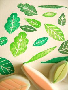 hand carved leaf stamps