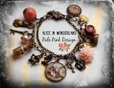 Alice in Wonderland Jewellery bracelet  handmade Gift-Pale Pink-eat me drink me mini glass bottle Fimo on Etsy, £17.00
