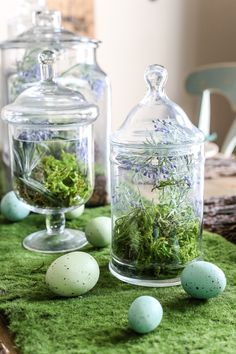Apothecary Jar Terrarium Easter Centerpiece | blesserhouse.com - An apothecary jar terrarium Easter centerpiece and tablescape for a vintage style look with a budget-friendly price tag, plus more Easter entertaining ideas #easter #tablescape