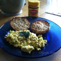 Vegan breakfast of champions!  This is tofu scramble, vegan approved English muffin and some vegemite!  #aussie #vegemite #vegan #tofuscramble