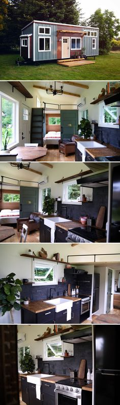 From Handcrafted Movement is the Topanga, a tiny home featuring a downstairs bedroom and two lofts. From Washington-based Handcrafted Movement is the Topanga, a tiny home featuring a downstairs bedroom and two lofts. Tiny Living Rooms, Tiny House Living, Modern Tiny House, Tiny House Design, Tyni House, Tiny House Nation, Tiny Spaces, House Built, Tiny House On Wheels
