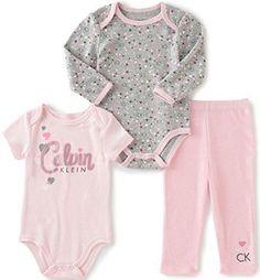 Calvin Klein Baby Girls' Long/Short Sleeve Creeper with Pants Light Pink 6/9 Months