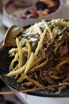 Green Bean Salad Recipe. Yum, with Pecorino, toasted walnuts, fennel, two kinds of green beans and a delicious dressing.