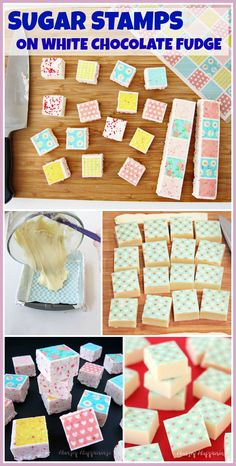 Add colorful designs to white chocolate fudge by using Sugar Stamps. It is so easy to turn ordinary fudge into an exciting treat for Valentine's Day or any day. See how at HungryHappenings.com