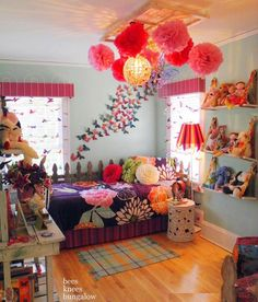 Cute girls room - esp the butterflies on the wall