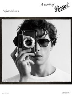 Persol, a brand name which has always been a hallmark of class and the very highest Italian quality, is paying tribute to the world of photography with a unique collection: Persol Reflex Edition. Persol, Round Sunglasses, Womens Fashion, Portrait Ideas, Photography, Stuff To Buy, Industrial Design, Life, Sunglasses