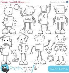 80% OFF SALE robot digital stamp commercial by Prettygrafikdesign