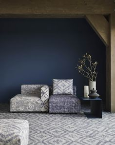 &Ex seating elements - colour indigo.  Photography: Alexander van Berge   Styling: Bregje Nix.