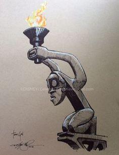 by Artist Kevin-John Jobczynski Tiki Torch God Original 1/1 Concept Sketch (color) by Artist Kevin-John Jobczynski