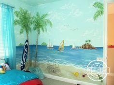 Hawaii Surf Beach Wall Murals ¦ Hawaii Beach Nursery Murals and wall Decor in South Florida residence
