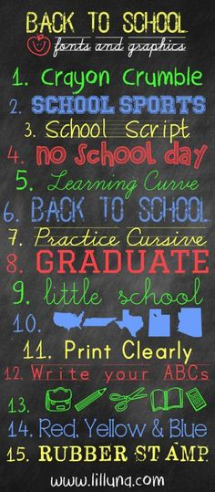 FREE Back to School Fonts and Graphics – Scrap Booking