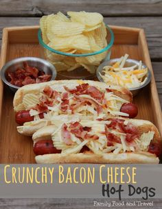 Delicious Bacon Cheese Hot Dogs with an added crunch. Creative, yet simple toppings to take your hot dog to the next level. Hot Dog Recipes, Bacon Recipes, Grilling Recipes, Cooking Recipes, Cooking Corn, Cooking Games, Hot Dogs, Good Food, Yummy Food
