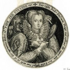 "Sight from the ""Quinque Sensuum Figurae"" engraved by Crispijn de Passe in Cologne, c.1599. Here he has cleverly contrived to show to the viewer not the expected face of the young Frenchwoman who looks into the mirror but the owl that sits on the shoulder of the 'fool' (and, of course, there is a further play on the rebus-name of the German trickster figure Eulen-Spiegel [Owl-Glasse in English]. AND in addition, note that she makes a concealed 'horns' gesture directed at him."