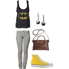 Yellow: Batman by kamrynxxatl on Polyvore featuring Peoples Market, Converse, Marc Jacobs and Fernando Jorge