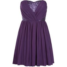 Purple Bandeau Sequin Prom Dress found on Polyvore