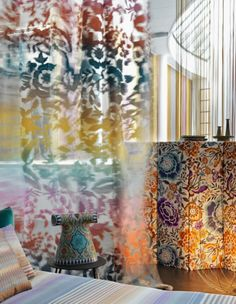 What we saw at Den Fair 2016: Spence and Lyda showcased the latest fabric offerings from Italian design house Missoni – we were particularly taken by the colourful 'Sinaloa' floral sheer. Missoni 'Sinaloa' sheer fabric, $467 per metre, from Spence & Lyda.