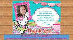 Hello Kitty Thank You Card. Custom Design, Fairy tale Birthday Party, personalized, Printable Invitation, Product# Hello Kitty 0002PIC by kellylynn1973 on Etsy