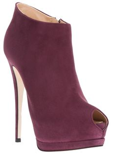 Purple suede ankle boots from Giuseppe Zanotti Design featuring a peep toe, a side zip, a platform, a nude sole and a stiletto heel.