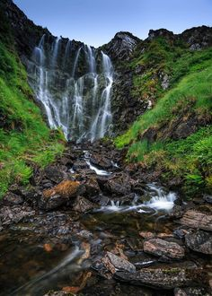 Clashnessie Waterfall in Sutherland, Scotland.