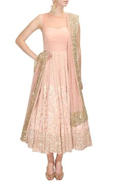 Baby pink and gold anarkali dress