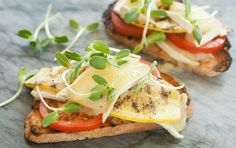 Try this for lunch this week! Grilled squash open-face sandwich. Add brie cheese (or any preferred cheese), tomato, sprouts and a little olive oil, sea salt and pepper. via Don Colbert, MD