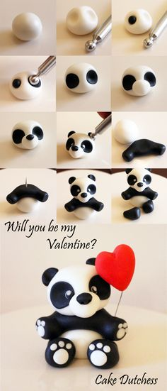 Cute Panda Cake Or Cupcake Topper For Valentines Day By Dutchess