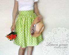 Custom lemon green polka dot skirt with pockets by Ananya on Etsy Really like this - I think with a simple white top it would work great.