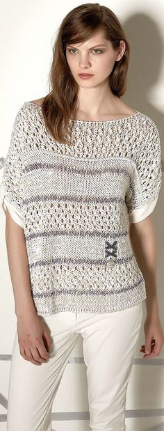 Elisa Cavaletti – S / S 2016 - Everything About Knitting Summer Knitting, Lace Knitting, Crochet Lace, Freeform Crochet, Knitting Machine Patterns, Knit Patterns, Knit Fashion, Knitting Designs, Crochet Clothes