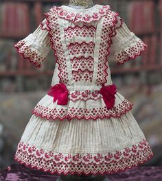 """Antique Original French Cotton Dress with red embroidery for Jumeau Bru Steiner Eden Bebe doll about 18-19""""  (46-48 cm)"""