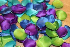 Peaock Petals/Aisle Petals/Peacock Rose Petals/Peacock Wedding/Peacock Decorations/Artificial Petals/Rose Petals/Peacock Satin Petals