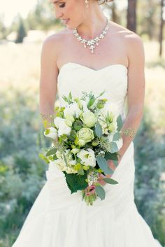Green and white wedding bouquet // Bouquet: Flora //  Photographer: Two Bird Studios // http://www.theknot.com/submit-your-wedding/photo/a57b58e5-0674-48f0-b508-a8cb60c864a2/Adam-and-Bridgette-Say-I-Do