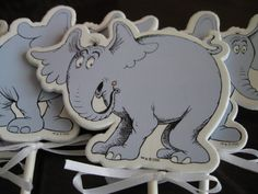 Jumbo HORTON Cupcake Toppers Foamy Shapes Set of by thegutsygoose, $12.00
